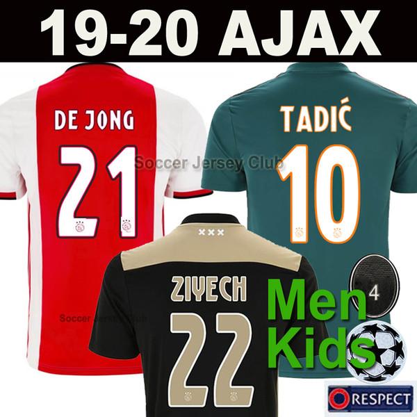 19 20 Maillot de foot AJAX FC DE JONG TADIC DE LIGT ZIYECH VAN BEEK NERES DOLBERG HOMMES ENFANTS football soccer jersey top qualité thaïlandaise 2019 2020 pour champions Netherland