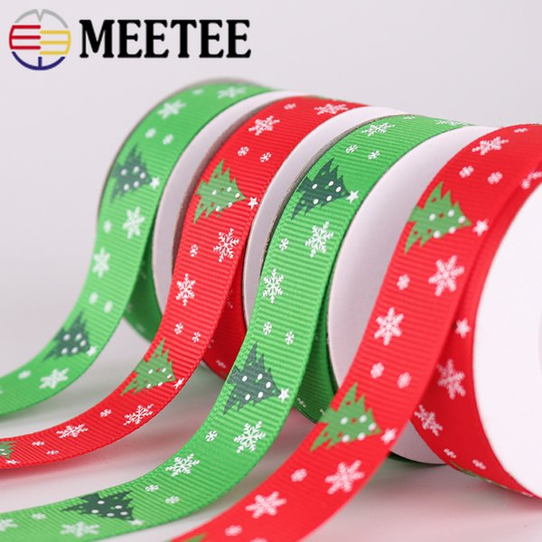 Meetee Christmas Tree Decoration Webbing Double grosgrain Ribbons DIY New Year Decor Gift Box Wrapping Sewing Ribbon