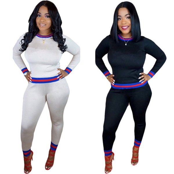 best selling Brand Designer women winter sportswear hoodie pants 2 piece set embroidery letter pullover trouser sports suit strip fall tracksuit outfit