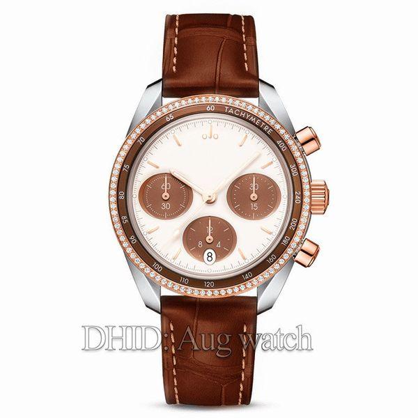 38mm Mens Watches Rose Gold Watch 324.23.38.50.02.002 Chronograph Function Swiss Quartz Movement Leather Strap Diamond Bezel Wristwatches