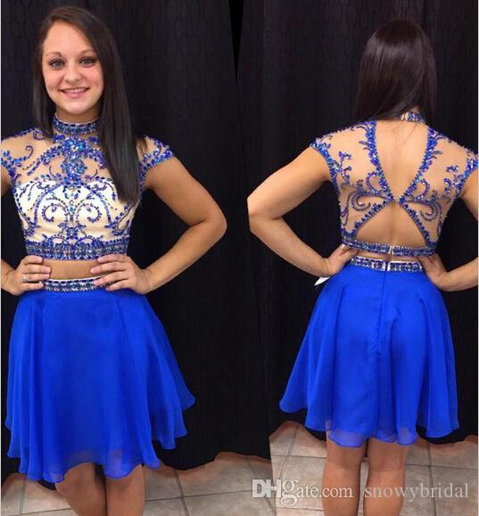 2019 Royal Blue Two Pieces Short Prom Dresses Heavily Beaded Bodice Sparkly Sheer Sexy Cute Girls Cocktail Party Dress Custom Made 2 Pieces