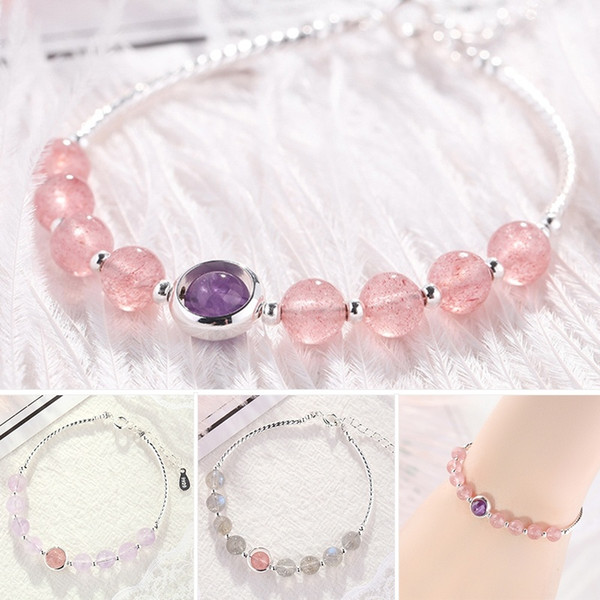 best selling Strawberry Crystal Amethyst Moonstone Beads Bracelet Female Temperament Gold Plating Bangle Lucky Transfer Natural Stone Bracelets