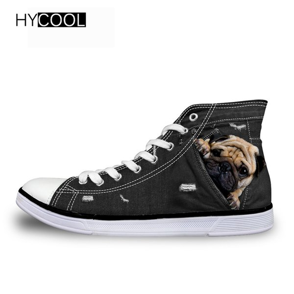 HYCOOL Children Canvas Shoes Girls Boys Kids Sneakers 2018 Baby Kids Running Shoes Kawaii 3D Pug Pattern Style Child Sport
