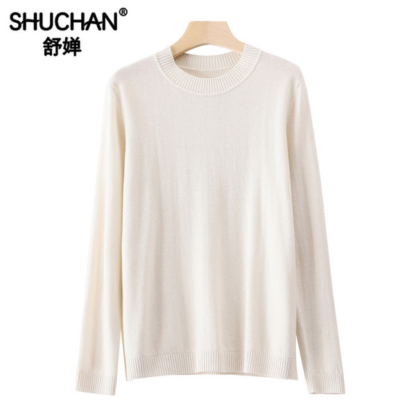 Shuchan Sheep Wool Basic Women's Sweater O-Neck Office Lady Korea Women Sweaters and Pullovers Autumn Winter 2019 New Items