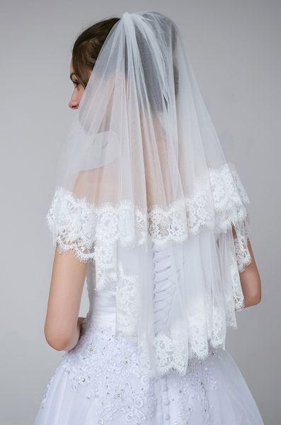 White Wedding Veil Elbow Length Lace Edge Applique 2 Layers Wedding Accessories Elegant Bridal Veil For Beach Bride Headpiece Face Veils