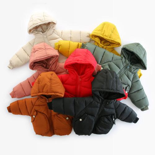 WLG girls boys winter thick parkas baby solid hooded big pockets warm coats kids beige pink yellow red clothes children 1-4 year