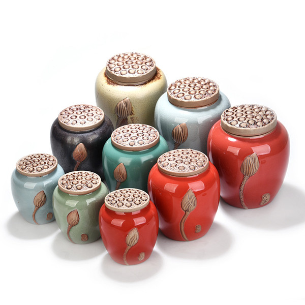 Ceramic Tea Box Teaware Storage Tank Coarse Pottery Purple Sand Tea Cans S M Tea Jar Candy Storage Box Creative Porcelain Gift Container