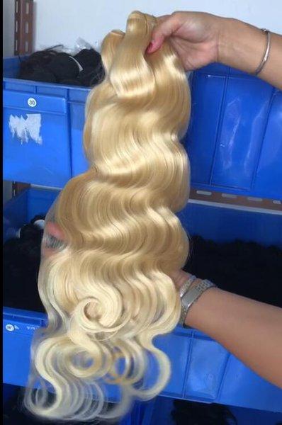 Top Grade Full Bundle Body Wave # 613 Blonde Hair Bundles Russian Extensiones de trama de cabello ondulado se pueden teñir 4 bundles / lote