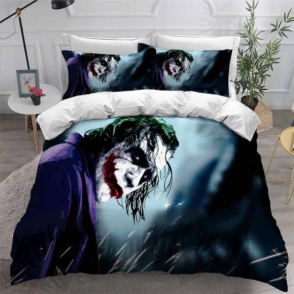 HELENGILI 3D Jogo do fundamento Clown Joker impressão edredon cobrir Set Bedcloth com fronha Bed Home Textiles # JO09