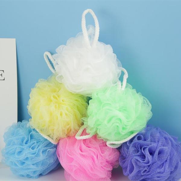 top popular Colorful Shower Sponge Mesh Pouf Bath Spa Shower Scrubber Ball Colorful Bath Sponges Dead Skin Cell Remover 2019