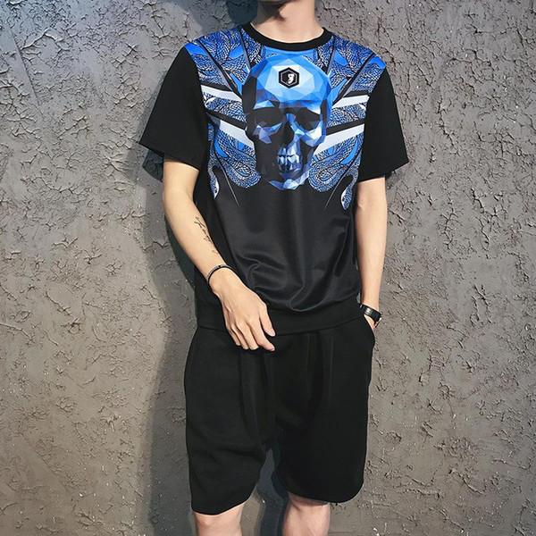 Hombres Summer Causal Set 3D Printing Hip Hop Shorts de manga corta Pantalones de chándal Pantalones de moda Chándal para hombre Traje de dos piezas
