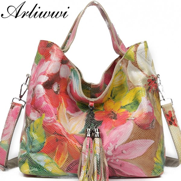 Arliwwi  Female Real Leather Shiny Flower Summer Women Tote Handbags New Lily Floral Lady Embossed Genuine Leather Bags