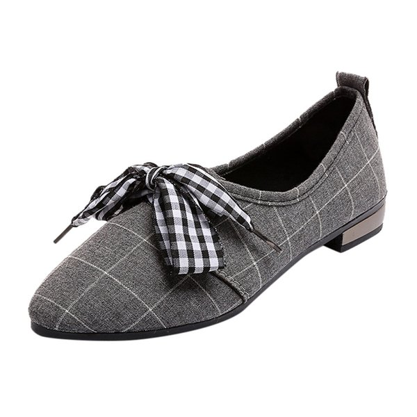 Luxury Womens Flat Shoes Cover Shallow Women's Bow Low Cut Casual Shoes Fashion Shallow Mouth Pointed Flat Shoes