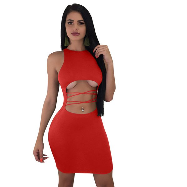 Hollow Out Summer Bodycon Dresses Women O Neck Sleeveless Bandage Mini Dress Casual Yellow Night Club Party Vestidos NZK-1740