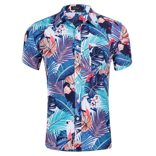 New Men Short Sleeve Beach Hawaiian Shirts Summer Cotton Casual Floral Printed Beach Shirt Mens Clothing Fashion GD24