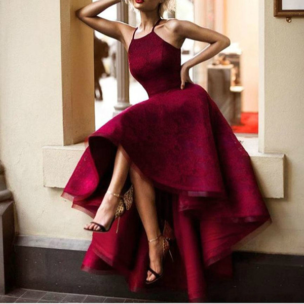 2019 Free Shipping Burgundy Evening Gowns Color Halter Sleeveless Lace Short Front Long Back Sexy Prom Dresses