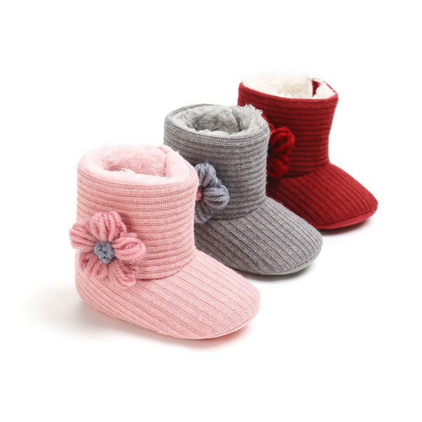 Baby Cute Warm Winter Boots Babies Girls Toddler Infant Snow Boots Fur Faux Striped Shoes Cotton Flower 0-18M