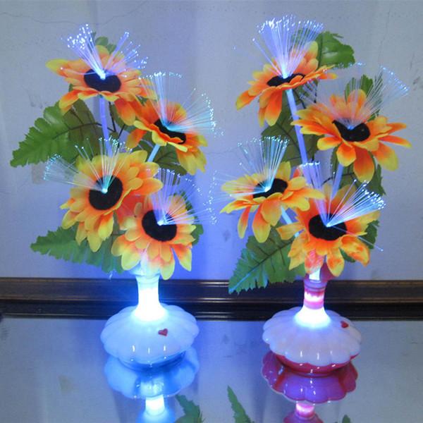 De Noche De A51 Del Jarrón Casera Compre Decoración Para Fiesta Fibra Decoración Flor LED La 52 Artificial Lámpara Luz Óptica Flor Lily 1 Calla UNID PuTiOkZX