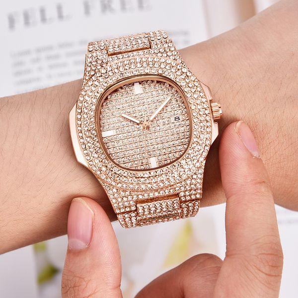 Herrenuhren mode luxus diamant marke datum quarzuhr männer gold edelstahl business watch montres de marque de