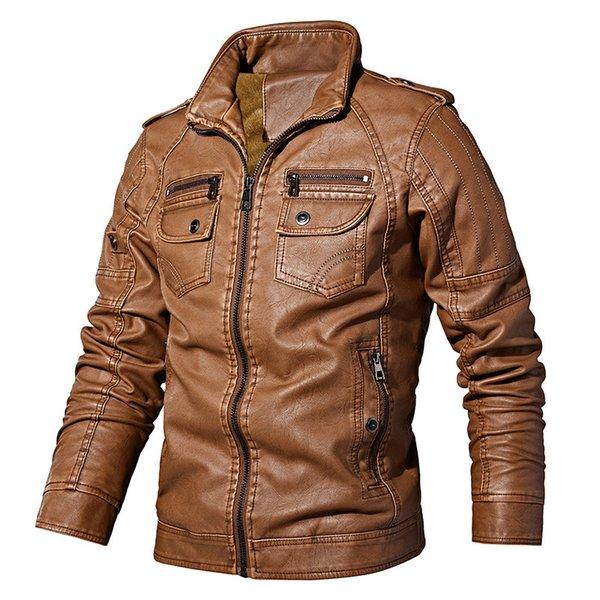 Nouveau Hommes Automne Hiver PU Veste de mode couleur Solid Slim Fits Vestes en cuir Homme Manteau Casual Marque Vêtements Zipper Design 8818