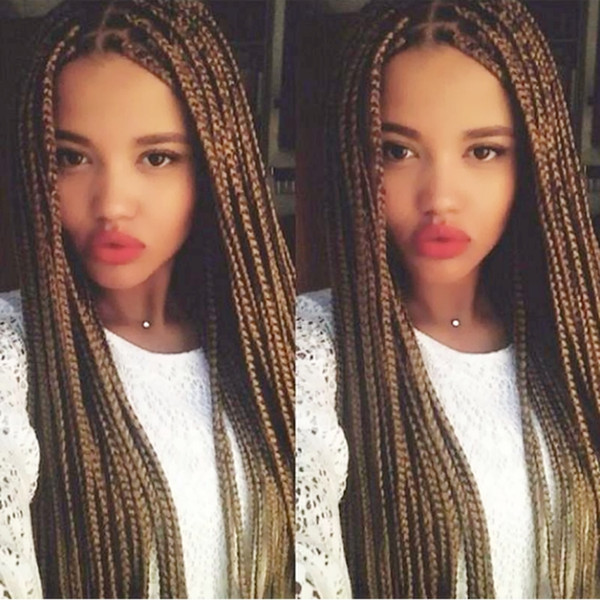 Free Shipping Synthetic Lace Front Wig Brown Micro Braided Wigs with Baby Hair for Black Women Heat Resistant Fiber Box Braid Wig Glueless