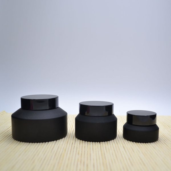 10 x 15G 30G 50G Frost Cream Glass Matte Jar Pot with Black Lids White Seal Skin Care Face Mask Cosmetic Packaging Container