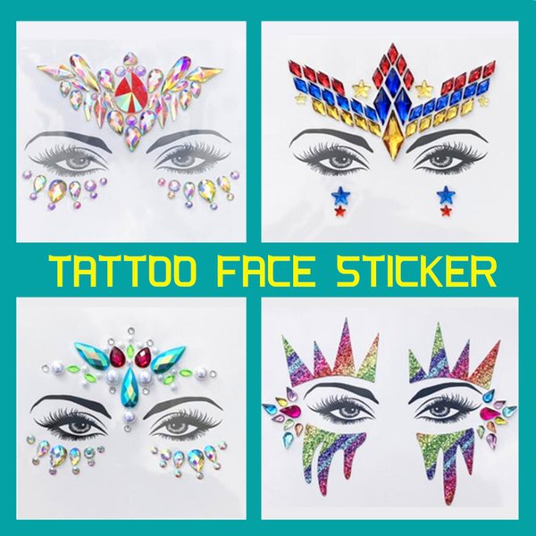 Tattoo Face Jewel Sticker for Women Party Holiday Eyebrow Crystal Eyes Sparkling Gems 3D Glitter Body Art Stage Makeup Deco 3pcs/lot