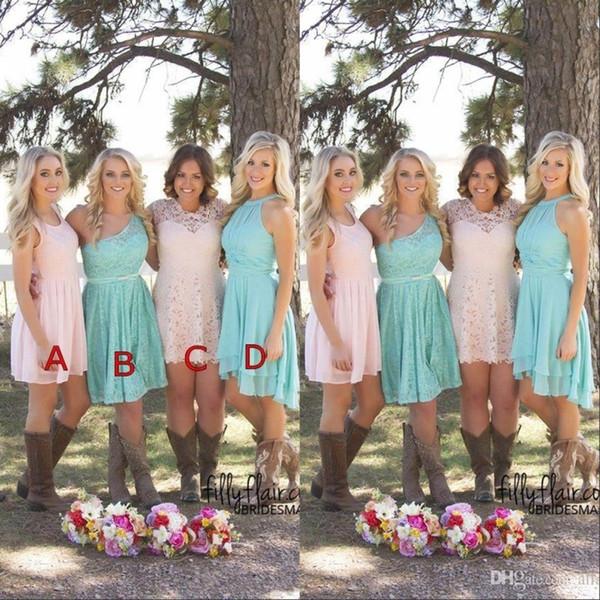 2019 пользовательские короткие платья невесты страна Вестен Ruched шифон подружек невесты платья длиной до колен горничной платье