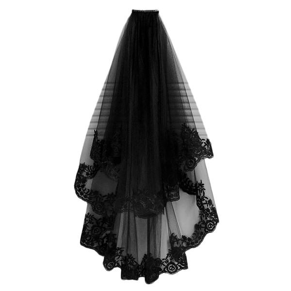 Свадебная Вуаль Вуаль собор волос с расческой кружева края два слоя тюль Короткие свадебные аксессуары платье партии