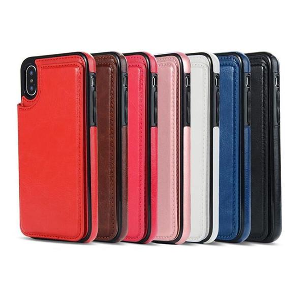 Samsung Note10 S10 için Kart Yuvası ile iPhone 11 Pro Xs Max Xr Cüzdan Kılıf Lüks PU Deri Telefon Arka Kapak Kılıf için
