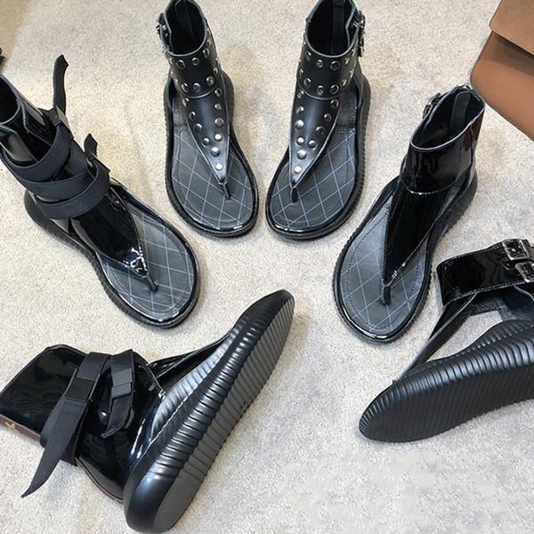 designer de luxe Sandales Rome chaussures Rivet Gladiateur mode haut-top 100% chaussures de plage en cuir véritable Semelle en caoutchouc