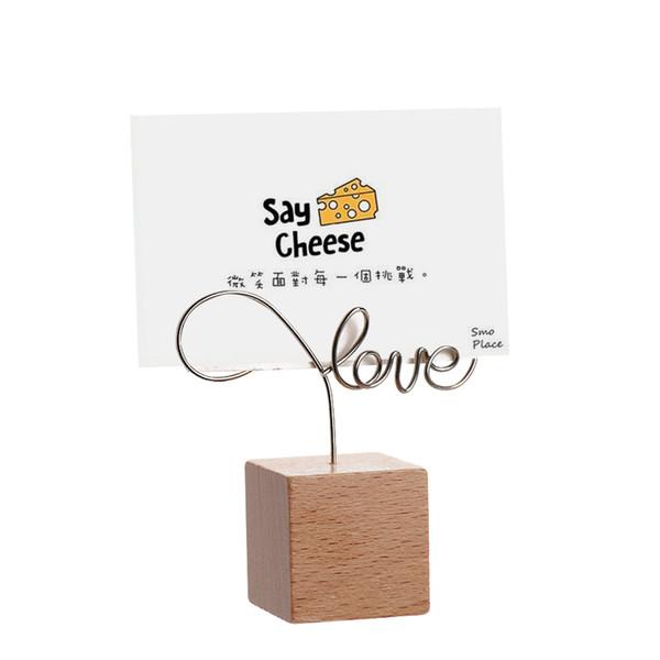 Round Creative / carré de fer en bois photo Mémo Clip Nom de la carte Pendant les articles d'ameublement Cadre photo Remarque Cadre de table Porte