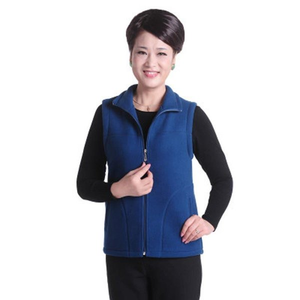 New Fashion 2016 Autumn Winter Women Vest Middle Age Slim Warm Polar Fleece Vests Plus Size L-5xl Mother Clothing Pw0103