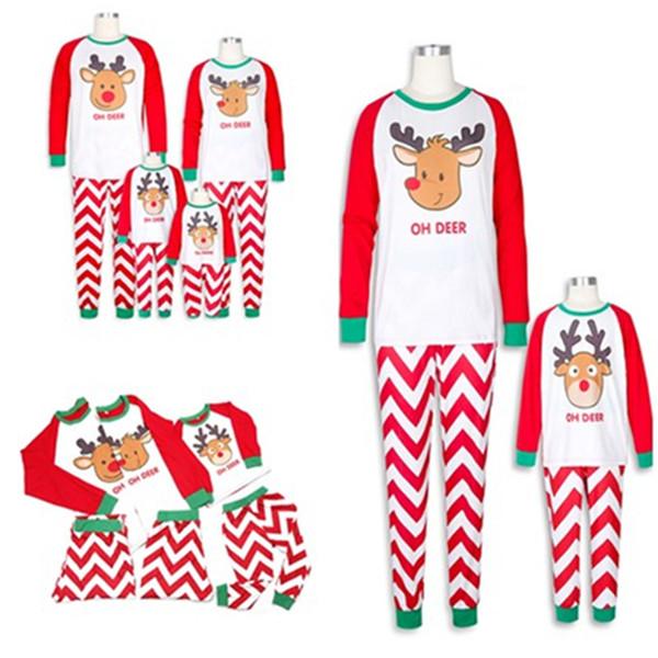 Pyjama de Noël Set Elk T-shirts de Noël de cerfs communs Enfant Famille Adulte Femmes Hommes Impression costume parent-vêtements de nuit pour enfants bande d'onde
