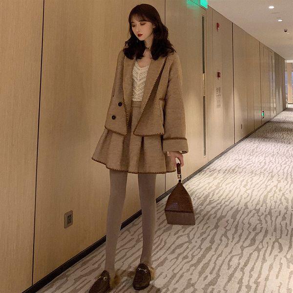 Slim Fat Sister Winter Apparel Slim Wool Coat Large Size Women's Apparel New Fat MM Heart Machine Westernized Short Skirt Two-piece Suit