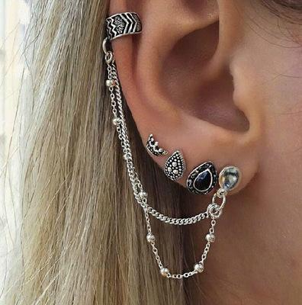 2019 Boho argento colore orecchino della vite prigioniera Set Waterdrop cristallo moda orecchini per le donne catena orecchino a perno brincos gioielli regali