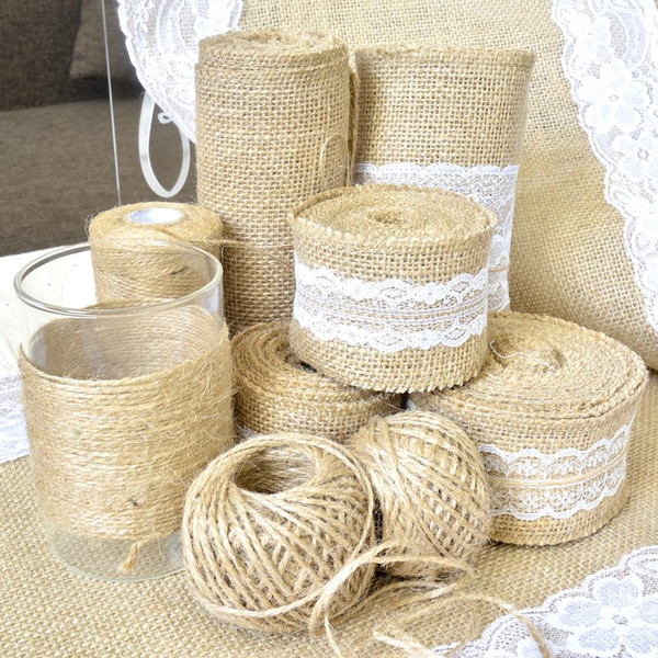 Natural Burlap Ribbon 5m Vintage Wedding Centerpieces Decoration Sisal Lace Trim Jute Hessian Rustic Event Party Decor Supplies Party Supplies