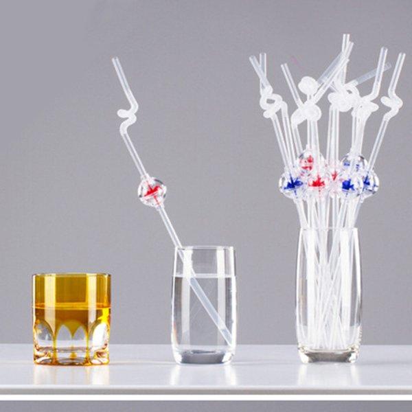 Творческий милый весело ветряная мельница форма выдвижной изогнутые соломинки длинные искусства DIY жесткий солома случайный цвет чайник аксессуары * * D