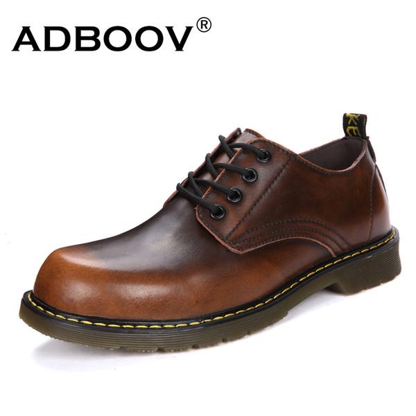 ADBOOV Moda Deri Ayakkabı Erkekler Yuvarlak Ayak Eğlence erkek Rahat Ayakkabılar Kauçuk Taban Yürüyüş Adam Iş