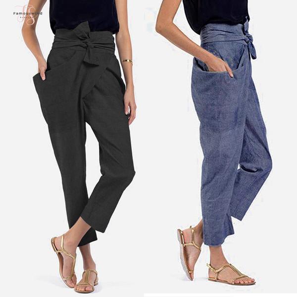 Boyut Kadınlar Yüksek Bel Pantolon 2019 Sonbahar Casual Gevşek Bow Kuşaklı Artı Pantolon Düzensiz Cepler Uzun Palazzo Havuç Pantolon 5XL