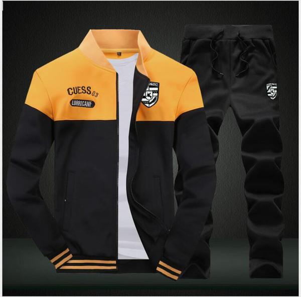 Feather Print Hoodie Sets Mens Tracksuit 2 Pieces Set Men Zipper Sweatshirt+Pants Casual Track Suit Sportswear Autumn Winter Set