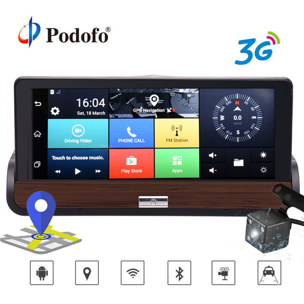"""Podofo 3G 7"""" Car DVR Dual Lens Camera GPS Navigation wifi Android 5.0 Touch Screen DashCam Video Recorder With Rear view Camera"""