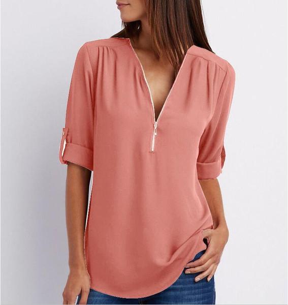 Camiseta para mujer Color sólido Camisetas casuales Para mujer de gran tamaño Profundo Cuello en V Camisetas Moda para mujer Camiseta para mujer Tamaño S-5XL