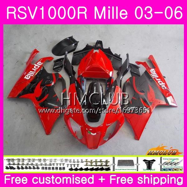 Body For Aprilia RSV1000R Mille RSV1000 R RR 03 04 05 06 Bodywork 38HM.4 RSV1000RR RSV 1000 2003 2004 2005 2006 03 06 Fairing Factory red