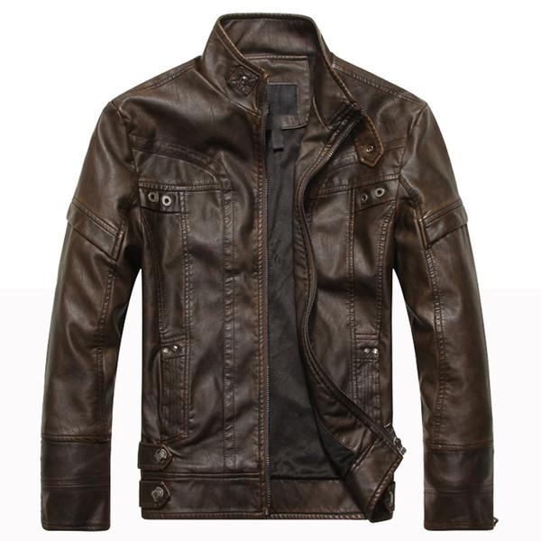 TANGNEST 2019 New Arrival Autumn Winter Fashion Slim-fit Men's Locomotive PU Leather Jacket Plus Velvet Male Coat 5XL MWP503