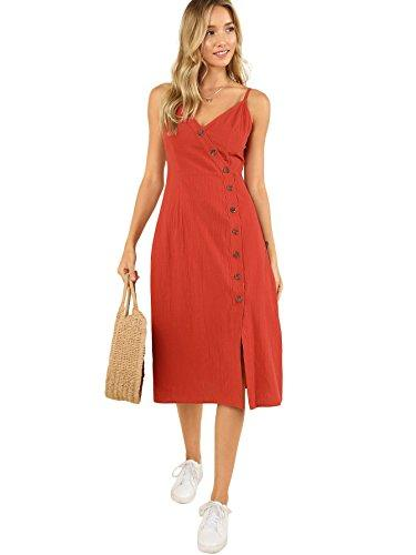 milumia women's button up v neck spaghetti strap plain shift midi cami dress