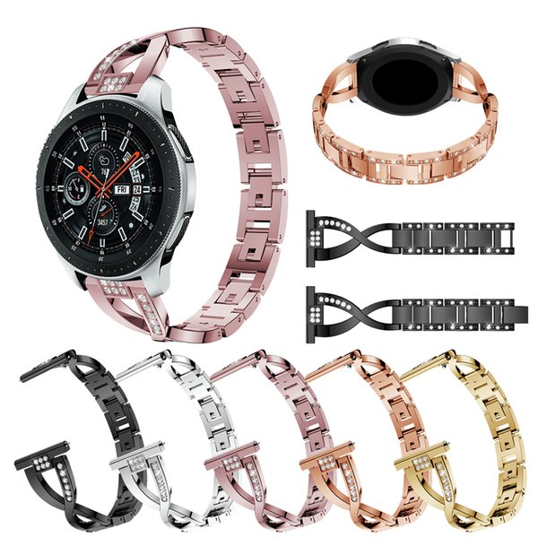 Bling 22mm Crystal Jewel X Cross Watch Band,Compatible with Samsung Galaxy Watch 46mm Gear S3 Bracelet Replacement