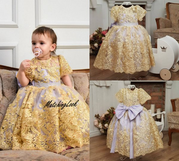 Little Baby Flower Girl Dresses For Wedding Jewel Neck Lace Appliqued A Line Short Sleeve Baby First Communion Dress