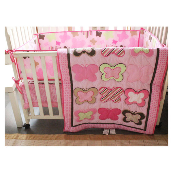 top popular Baby Crib Nursery Bedding Set Butterfly Pattern Pink Girls 4pcs Cotton 2020 New Design Hot sale cheep with Bumper Pad 2021