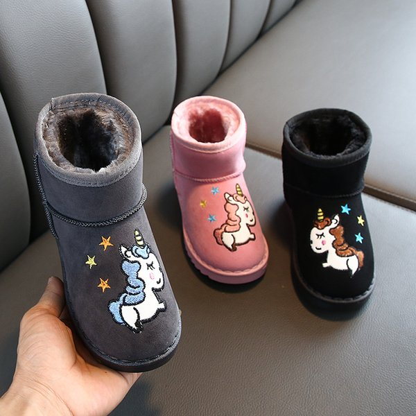 Children Kids Girls Winter Boots Cartoon Unicorn Fur Ankle Ankle Boots Shoes UK